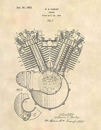 Harley Davidson Poster Patent Prints - V Twin Motorcycle Engine Patent Art (8.5 x 11