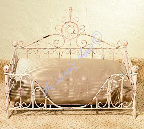 - MY SWANKY HOME Country French Iron Scroll Dog Pet Bed | White Cream Paris Cottage