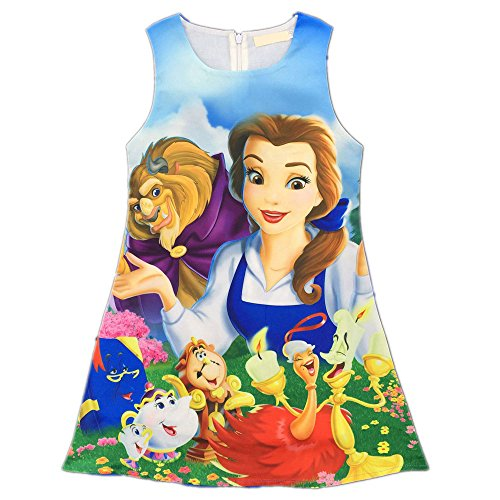 Blue Beast Child Costumes (AOVCLKID Beauty and the Beast Comfy Loose Fit Pajamas Girls Printed Princess Dress (Blue,110/4-5Y))