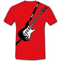 T-shirt uomo con stampa finta chitarra fender inspired, idea regalo per musicista band musicale! Scegli il tuo colore!