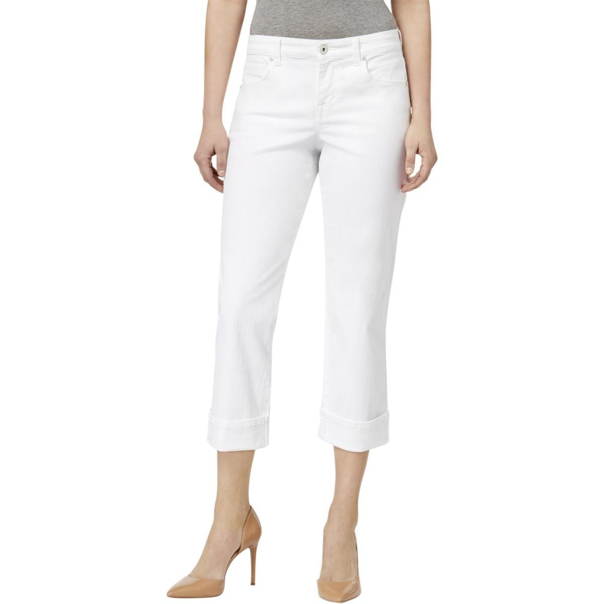Style & Co. Womens Curvy Fit Mid-Rise Capri Jeans White 8