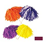 Club Pack of 144 Maroon Football Themed Pom Pom Tissue Shakers 16'' Stick x 12'' Strand (320)