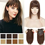 11 Inch Short Bob Clip in Crown Topper with Wispy Thin Air Bangs Synthetic Hair Middle Part Top Toupee Hairpiece for Hair Loss Thinning Hair Medium Brown