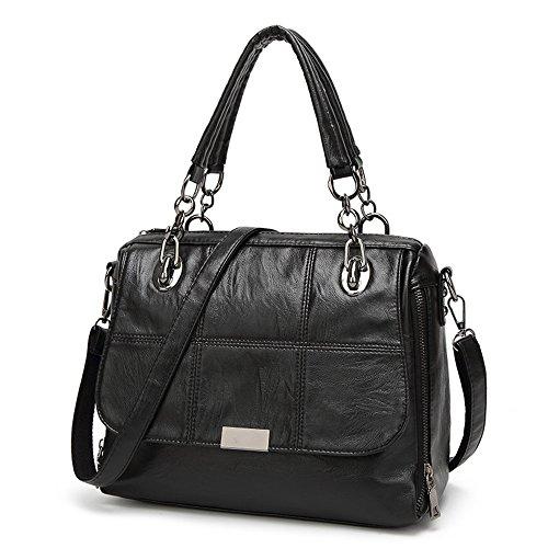Ladies PU Leather Handbags Designer Top-Handle Tote Clutch Bags Shoulder Bags for Women (Black2) Black3