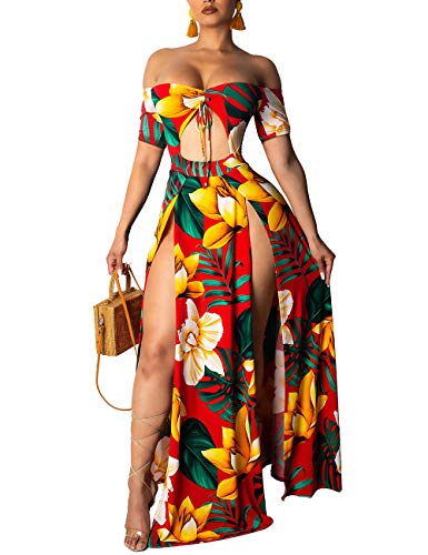 Rela Bota Women's Sexy Printed Dresses Off Shoulder Cut Out Maxi High Slit Cocktail Party Dress Yellow XL