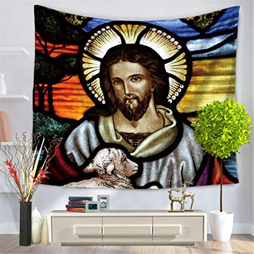 (Emptystar Christian Tapestry Living Room Bedroom Decorative Painting Sychedelic Hippie Bohemian Trippy Tapestry Wall Hanging Gaming Mouse Pad Non-Slip Rubber Mousepad for Home)