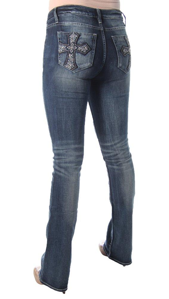 Miss Me Women's Embellished Cross Pocket Boot Cut Denim Jean, Medium Blue, 28 by Miss Me (Image #4)