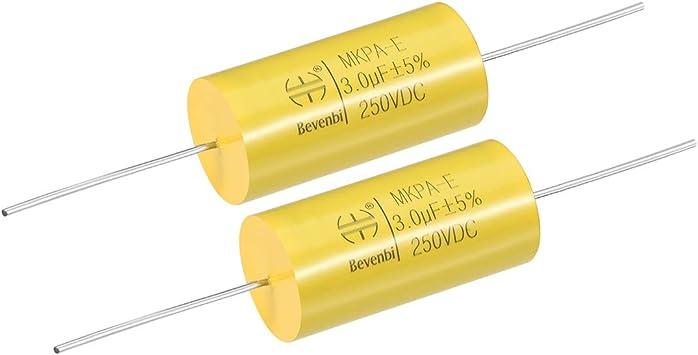 250V DC 2.7uF axial de polipropileno Film Capacitor Para Audio Divisor Amarillo