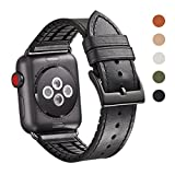 WFEAGL Compatible Apple Watch Band 38mm, Top Grain Leather And High-Quality Nature Rubber Hybrid Sweatproof Band Replacement Strap for iWatch Series 3,Series 2,Series 1,Sport (38mm Black Hybrid Band)