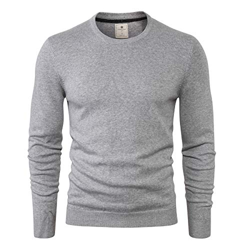 CANALSIDE Men's Wool Cotton Knit Crewneck Sweater Comfortably Fitted,Small,Light Gray