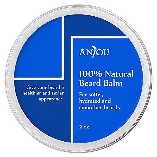 Barbe de baume, Anjou 100 % Pure et naturelle congé en cire barbe revitalisant avec la vitamine E, l'huile d'Argan marocaine, huile de Jojoba, huile de théier et cire d'abeille pour réparation & la croissance des cheveux - 2oz