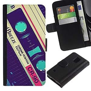 All Phone Most Case / Oferta Especial Cáscara Funda de cuero Monedero Cubierta de proteccion Caso / Wallet Case for Samsung Galaxy S5 V SM-G900 // casete retro grabar música de 90 de la vendimia