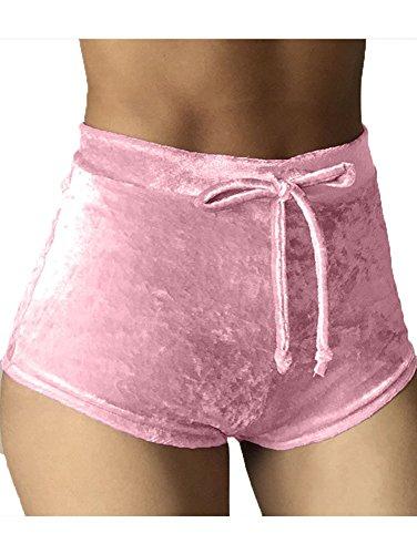 TOB Women's Soft Stretchy Drawstring High Waist Velvet Club Shorts Light Pink by TOB