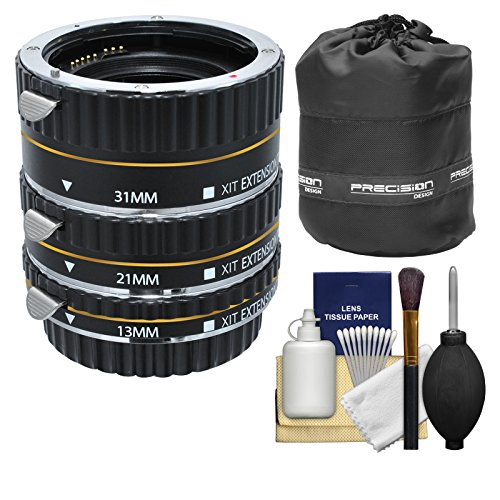 Xit Pro Series AF Macro Extension Tube Set with Pouch + Kit for Canon EOS 6D, 70D, 7D 5D Mark II III, Rebel T3, T3i, T4i, T5, T5i, SL1 DSLR Cameras