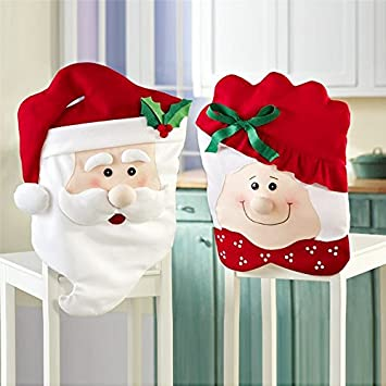GIM Christmas Decor Kitchen Chair Slip Covers Red Adorable Featuring Mr   Mrs Santa Claus for Holiday Party Festival Halloween Kitchen Dining Room Chairs  Set of 2