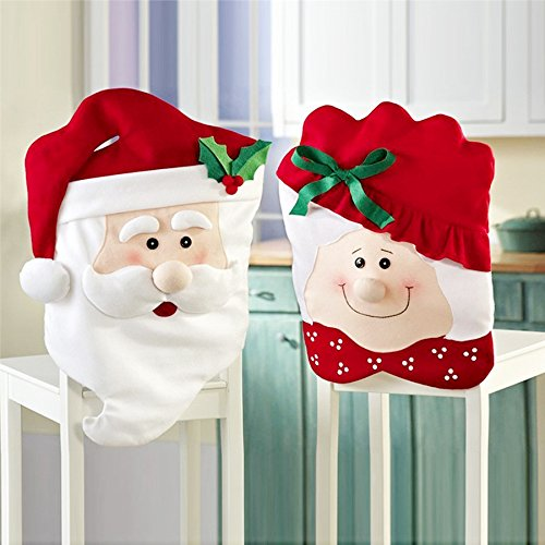 GIM Christmas Decor Kitchen Chair Slip Covers Red Adorable Featuring Mr & Mrs Santa Claus for Holiday Party Festival Halloween Kitchen Dining Room Chairs (Set of ()