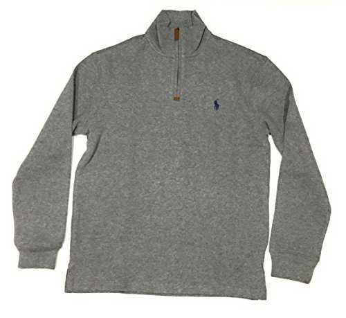 (Polo Ralph Lauren Mens Half Zip French Rib Cotton Sweater (Large, Winter Grey/Navy Pony))
