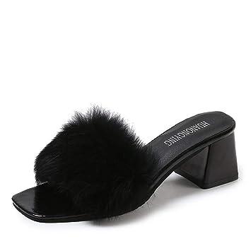 DANDANJIE Zapatillas De Sandalias De Imitación De La Felpa del Bloque De Las Mujeres Y Flip