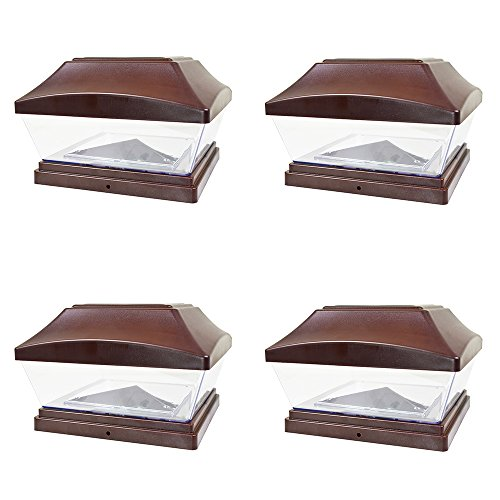 iGlow 4 Pack Brown Outdoor Garden 6 x 6 Solar SMD LED Post Deck Cap Square Fence Light Landscape PVC Vinyl Wood