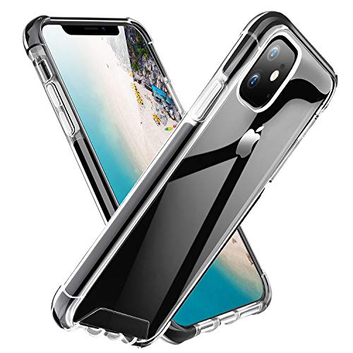 ROYBENS iPhone 11 Case Clear, Shockproof Bumper Protective Case, Military Grade Non-Scratch Hybrid Cover Heavy-Duty Silicone PC Hard Shell Armor for 6.1 Inch iPhone 11 2019, Black+Clear