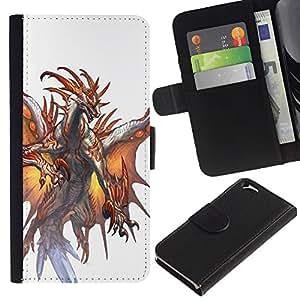 KLONGSHOP // Tirón de la caja Cartera de cuero con ranuras para tarjetas - White Dragon Fuego Alas Místico - Apple Iphone 6 //