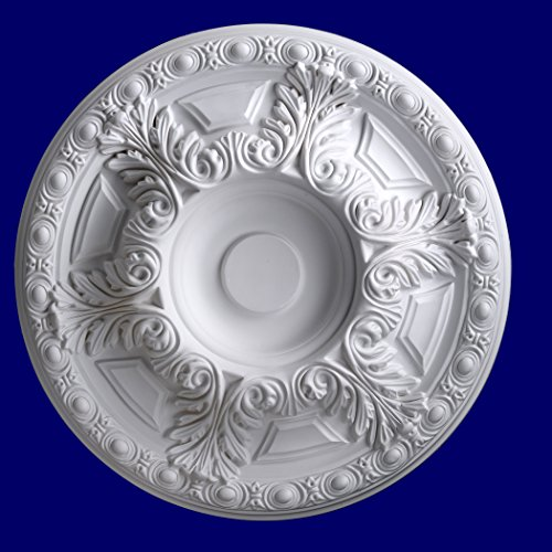 Emma Antique White Finish - Gaudi Decor 24-Inch Round Antique Ceiling Medallion by R301