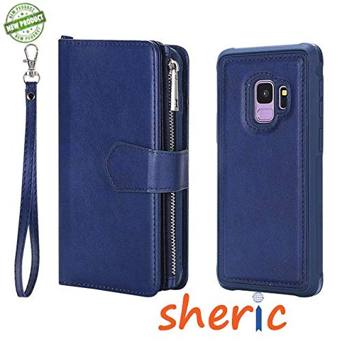 Samsung Galaxy S9 Wallet Case, SHERIC Premium PU Leather Zipper Wallet with Card Holder, Wrist Strap + Photo Frame + Magnetic Closure + Rugged Magnetic Detachable Back Case Cover for S9 (Blue)