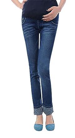 c295a25ee4c0e MTRNTY Women's Maternity High Elastic Waist Comfortable Denim Pants Plain  Jeans, Color1 Small