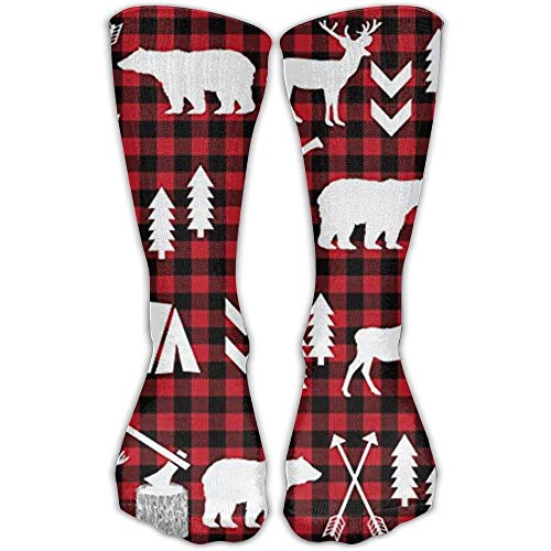 TDGEDSFD Buffalo Plaid Woodland Christmas Winter Fashion Warm Winter Socks Cotton Crew Socks One Size For Women And Men(30cm) (Spandex Shorts Woodland)