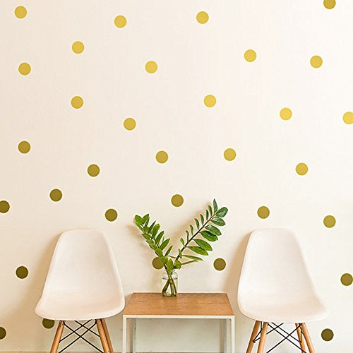 Amaonm® Set of 54 3*3cm Dots Wall Decal Removable Vinyl Polka Dot Decor Wall Stickers Murals Round Circle Art Peel & Stick for Kids Baby Girls Bedroom Living room TV Background (Gold )