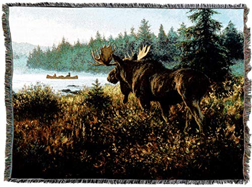 His Domain - Pure Country Weavers   in His Domain Moose Lodge Cabin Hunting Decor Woven Tapestry Throw Blanket with Fringe Cotton USA 72x54