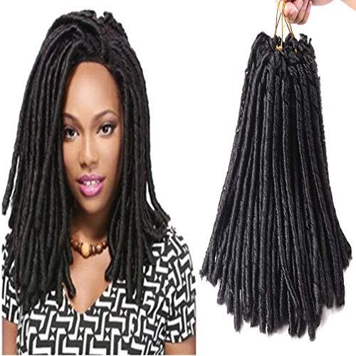 (Crochet Dreadlocks Hair Extensions Soft Locks Crochet Synthetic Braiding Hair Bulk Crochet Braids Hair 14inch 70g/Pack (#1B 3 Packs))
