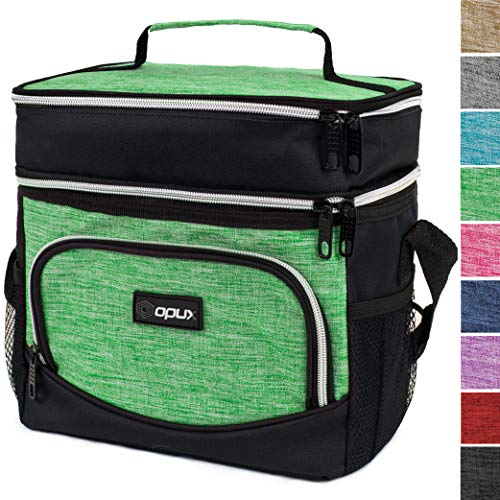 OPUX Dual Compartment Lunch Bag, Insulated Lunch Box for Women, Men | Double Deck Leakproof Lunch Tote Cooler for Work, Office, School | Soft Reusable Lunch Pail, Fits 8 Cans (Heather Green)