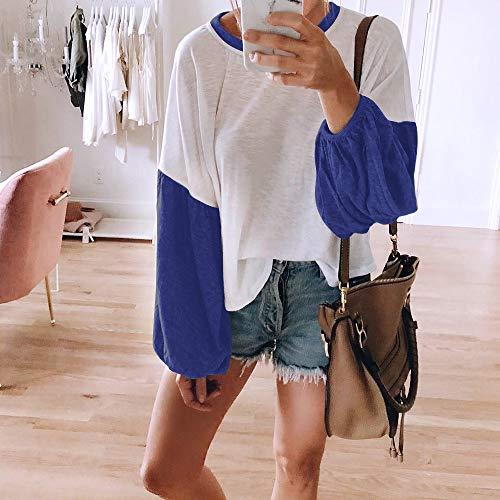 Chemise Hauts Col Pullover Manches Femme Casual Femme Couleurs Automne V Sexy Tunique Chic Shirt Longues T Blouse LEvifun Bleu Ample Dames Tops Mode Chemisier Patchwork qwBRztz