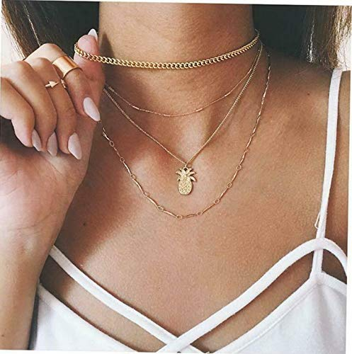 (Waldenn Fashion Women Multilayers Crystal Pendant Necklace Choker Collar Chain Jewelry | Model ERRNGS - 12901 | )