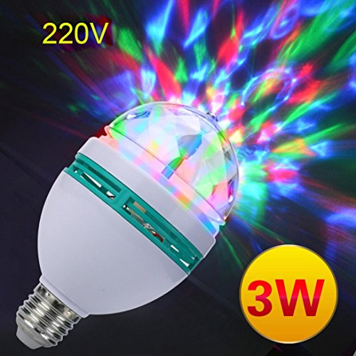 XEDUO Rotating Light Bulb, E27 3W AC220V Colorful Rotating Bubble Stage Light Disco DJ Party Light Bar KTV Lighting Bulb (White) - Moonlight Fairy Lamp
