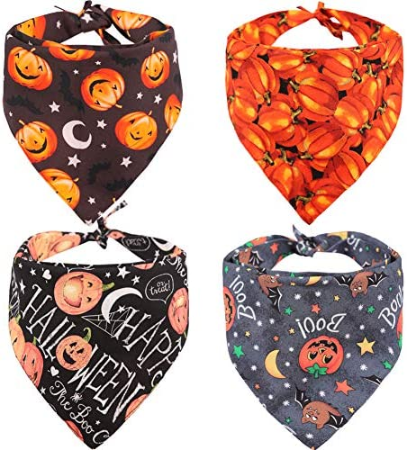 KZHAREEN 4 PCS/Pack Halloween Dog Bandana Pumpkin Reversible Triangle Bibs Scarf Accessories for Dogs Cats Pets 19