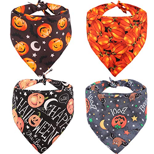 Best Halloween Costumes For Large Dogs (KZHAREEN 4 PCS/Pack Halloween Dog Bandana Pumpkin Reversible Triangle Bibs Scarf Accessories for Dogs Cats Pets)