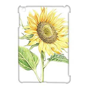 Sunflower and Red Ladybug Personalized 3D Case for Ipad Mini, 3D Customized Sunflower and Red Ladybug Case