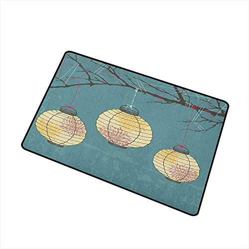 Floral Leaf Hanging Fixture - Wang Hai Chuan Lantern Universal Door mat Three Paper Lanterns Hanging on Branches Lighting Fixture Source Lamp Boho Door mat Floor Decoration W23.6 x L35.4 Inch Teal Pale Yellow