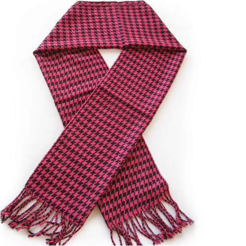 Classic Premium Houndstooth Check Scarf - Fuchsia & Black (Check Houndstooth Pink)