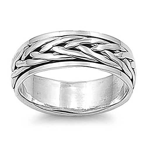 (Double Accent Sterling Silver Oxidize Finish Braided Rope Design Spinner Ring 7mm (Size 7 to 13) Size 10)