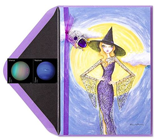Papyrus Bella Pilar Fashion Witch Halloween Card with Forever Planets Stamp Bundle - Have a Wickedly Fabulous Halloween - Cute Halloween Card Ideas