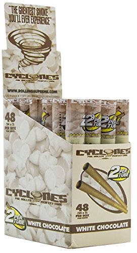 Cyclones White Chocolate Pre Rolled Cones 2 Cones / Unit Box of Pack 24 Wooden Tip + Free Doyouevenbakebro? Sticker