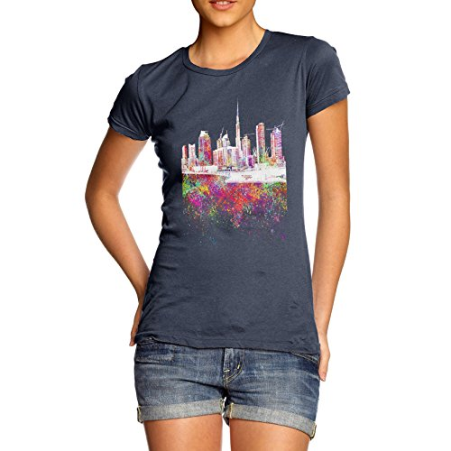 TWISTED ENVY Women's Dubai Skyline Ink Splats 100% Cotton T-Shirt, Crew Neck, Comfortable and Soft Classic Tee with Unique Design Medium Navy