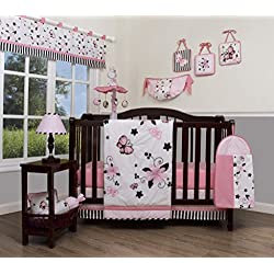 GEENNY Boutique Baby 13 Piece Nursery Crib Bedding Set, New Pink Butterfly