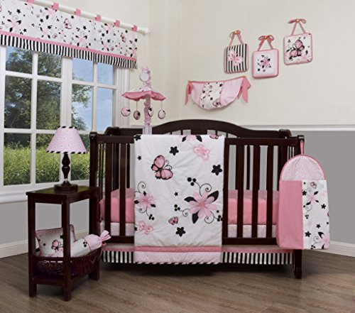 Butterfly Crib Sheet Set (GEENNY Boutique Baby 13 Piece Nursery Crib Bedding Set, New Pink Butterfly)
