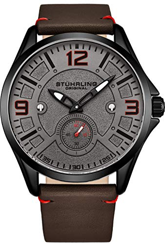 Stuhrling Original Mens Leather Watch -Aviation Watch, Quick-Set Day-Date, Leather Band with Steel Rivets, 699 Men Watch Collection
