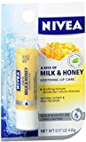 NIVEA A Kiss of Milk & Honey Natural Defense & Soothing Lip Care 0.17 oz (Pack of 4)