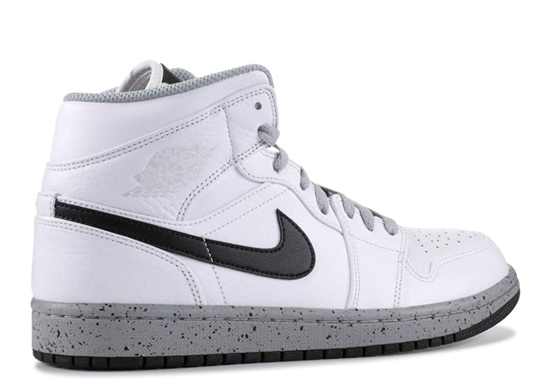 newest a8442 a0d09 Amazon.com   Jordan Mens AIR Jordan 1 MID White Black Wolf Grey Size 12    Basketball
